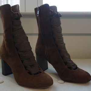 Chloe Brown Suede Harper Lace-Up Boots Size 6.5